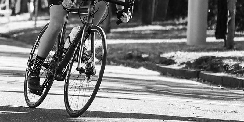 Cyclist going into a corner
