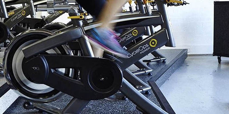 Leg spinning fast on indoor bike pedals